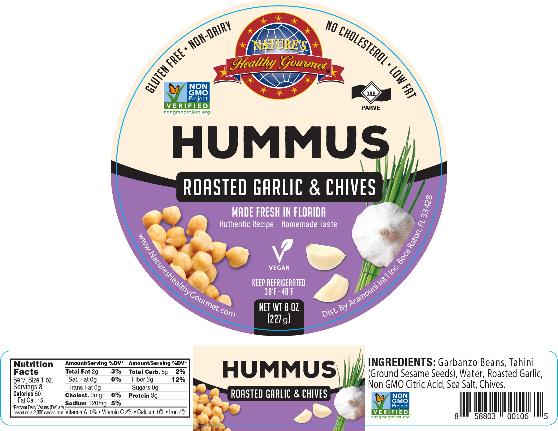 Nature's Roasted Garlic hives Hummus