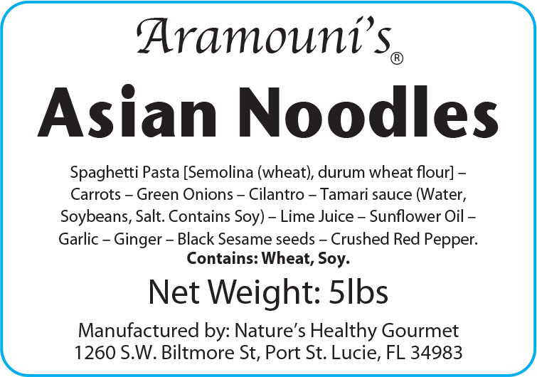 Aramouni's Asian Noodles - Label
