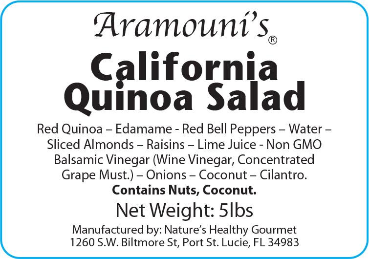 Aramouni's California Quinoa Salad - Label
